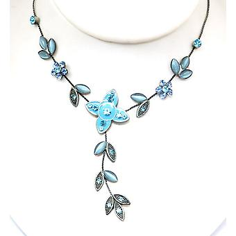 Oxidised Silvertone Blue Flower Necklace on 16 inch Extendable Serpentine Chain