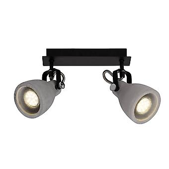 BRILLIANT Lamp Thanos Spot Beam 2flg black matt/cement grey | 2x PAR51, GU10, 20W, suitable for reflector lamps (not included) | Scale A++ to E | Heads swivelling