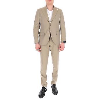 Lardini Ei425aeeic544015 Men's Beige Cotton Suit