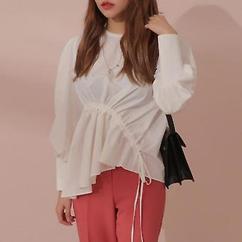 Lantern Sleeve Ruched Drawstring Irregular Shirt