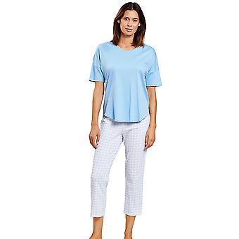 Rösch 1203084-15645 Naisten's Smart Casual Graphic Minimal Blue Pyjama Set