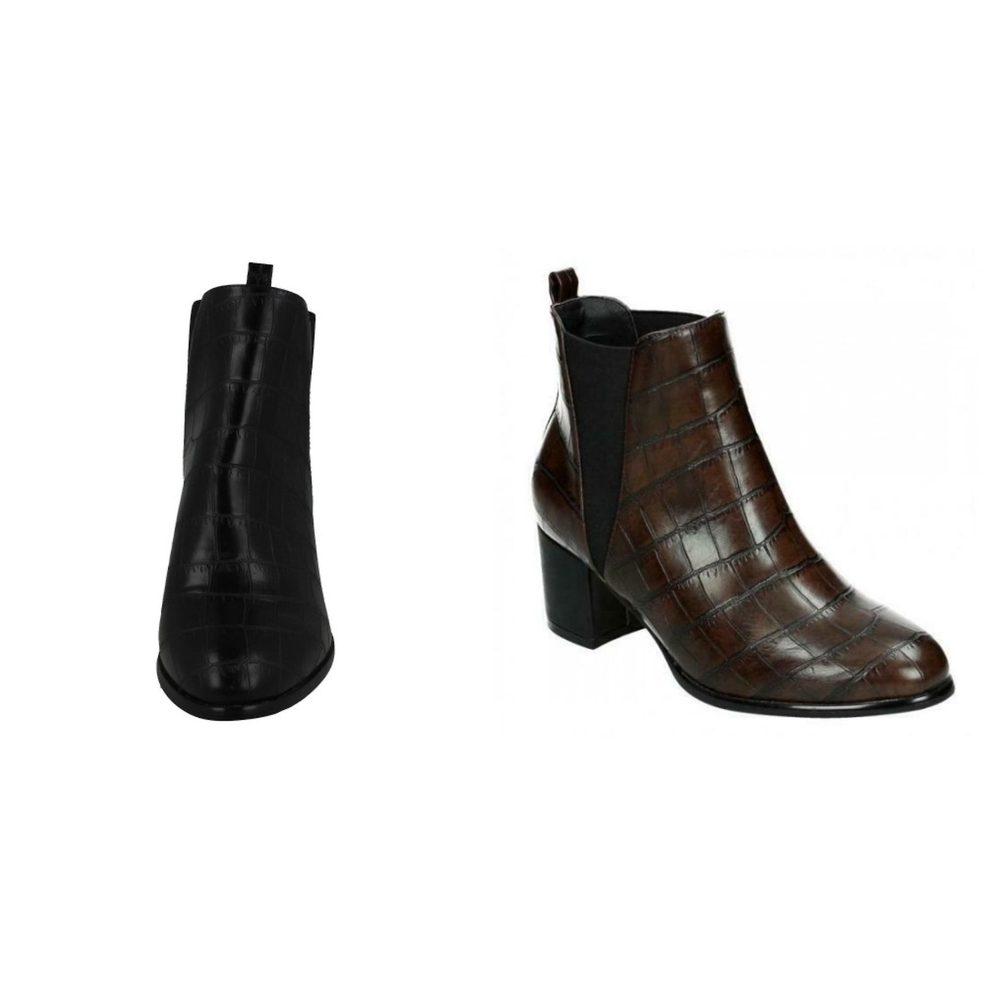 Spot On Womens/Ladies Chunky Crocodile Mid Ankle Boots UE57T