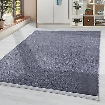 Washable Rug Solid Color Modern Baroque Pattern Non-Slip Soft Soft Anthracite