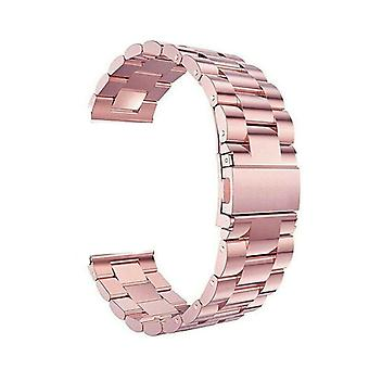 For Samsung Galaxy Watch Active Band 42 46mm Stainless Steel Strap[46 mm,Rose Pink]