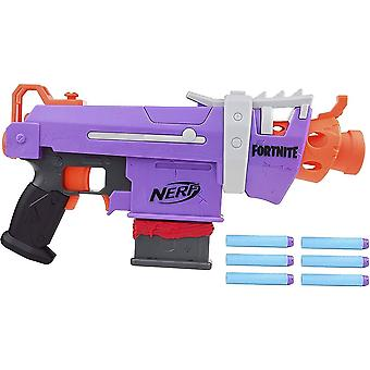 nerf fortnite smg dart blaster with 6-dart clip and 6 official nerf darts for