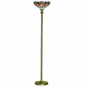 1 lekka Lampa podłogowa antyczny mosiądz, szkło Tiffany, czerwony, niebieski