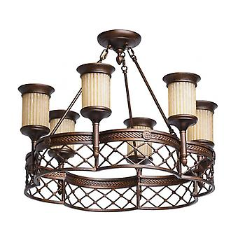 Country Brown Ceiling Lamp 6 Bulbs 50 Cm
