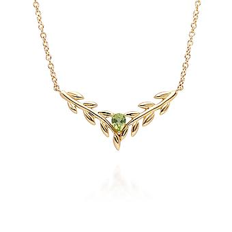 O Leaf Peridot Necklet in 9ct Yellow Gold 135N0366019
