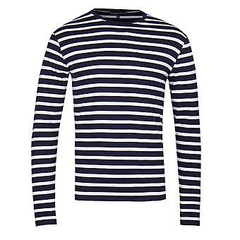 Armor Lux marinière Navy & vit rand långärmad T-Shirt