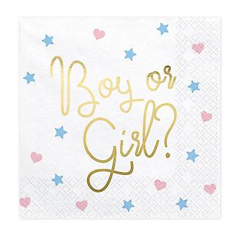 Boy or Girl Paper Party Napkins Baby Shower / Gender Reveal Party x 20