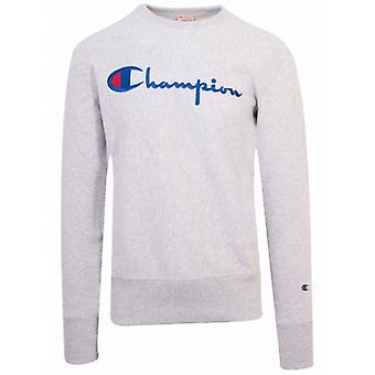 Champion Reverse Weave Grey Big Script Sweatshirt