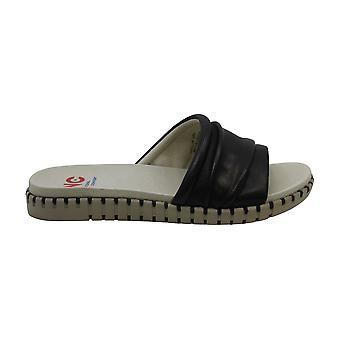 NATIONAL COMFORT Womens Orilla Leather Open Toe Beach Slide Sandals