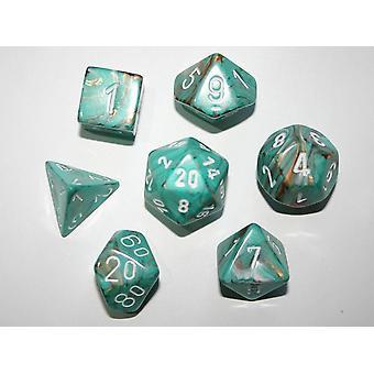 Chessex Polydice Set - Marble Oxi-Copper / white