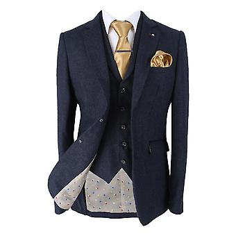 Men's Martez Navy Blue Slim Fit Herringbone Tweed Suit