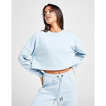 Nieuwe Pink Soda Sport Women's Core Fleece Crop Crew Sweatshirt Blue