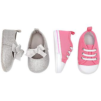 Simple Joys by Carter's Baby Girls' 2 Pack Crib Shoe Set: Soft Sole Mary Jane & Sneaker