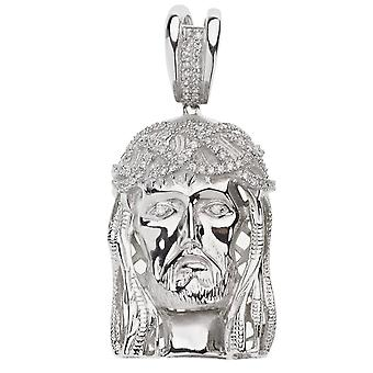 925 iced out sterling silver pendant - JESUS HEAD