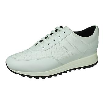 Geox D Tabelya B Womens Nappa Leather Trainers / Shoes - White