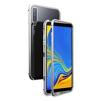 Stoff zertifiziert® Samsung Galaxy A50 magnetische 360 ° Fall mit gehärtetem Glas - Ganzkörper-Cover-Etui + Bildschirmschutz Silber