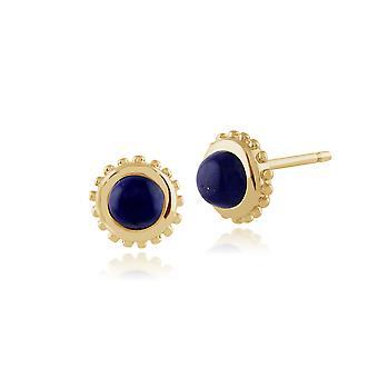 Klassische Runde Lapis Lazuli Ohrstecker in 9ct Gelbgold 6mm 135E1173029