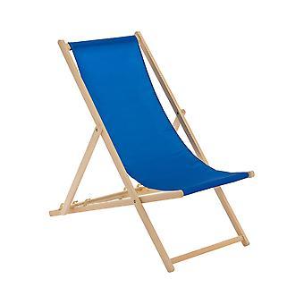 Traditional Adjustable Wooden Beach Garden Deck Chair - Royal Blue