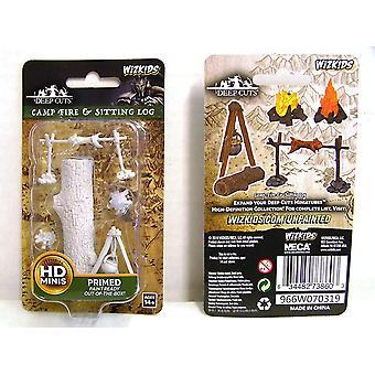 Wizkids Deep Cuts Unpainted Miniatures Camp Fire & Sitting Log (Pack of 6)