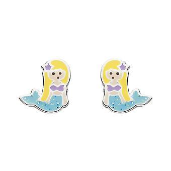 Dew Sterling Silver Dinky Enamel Mermaid Stud Earrings 3551ME027