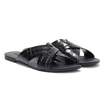 Vagabond Tia Crossover Embossed Leather Womens Black Sandals