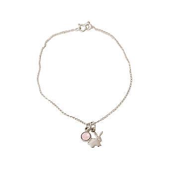GEMSHINE Bracelet HASE Charm 925 Silver, gold plated, rose Made in Spain ROSENQUARZ