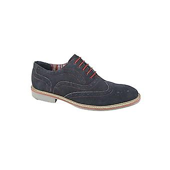Roamers Joseph Mens Suede Leather Oxford Brogues Marinha
