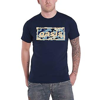 Oasis T Shirt Camo Band Logo new Official Mens Navy Blue