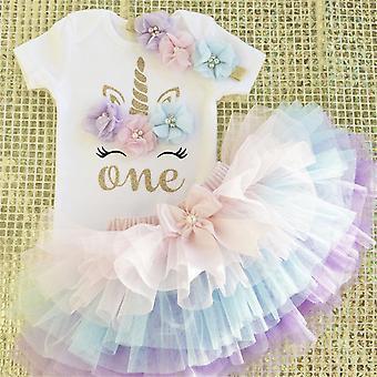 1 år pige baby fødselsdag enhjørning kjole blomst nyfødte prinsesse kostume 12 måneder barnedåb Kjole Cake Smash Outfits