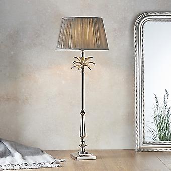 Tafellamp gepolijste nikkelplaat en houtskoolgrijze zijde 1 Licht IP20 - E27