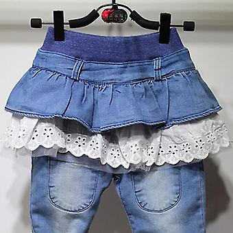 Ruffles Skirt Pants, Leggings, Thick Warm, Denim Trousers For Kid