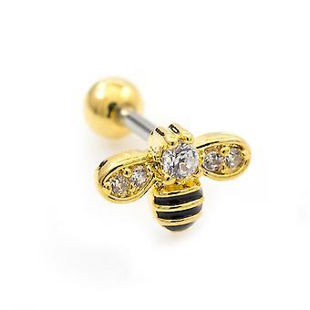 Sino de cartilagem com design de abelha e múltiplas pedras de zircônia cúbica 16g