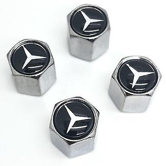Set of 4 Chrome Anti-Theft Car Tyre Air Dust Valve Stem Cap For Mercedes