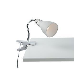 Verstelbare klemtafeltaaklamp, wit, E14