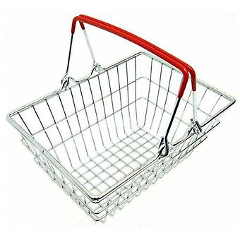 Children Miniature Metal Supermarket Shopping Basket Pretend Role Play Toy