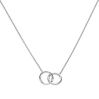 Diamonfire 925 Plata esterlina Flush Set Cubic Zirconia Interlinking Circle Rings Collar de Longitud 43-45cm