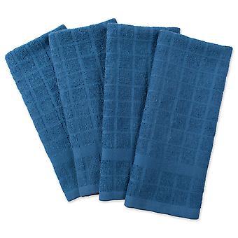 Dii Solid Blue Windowpane Terry Dishtowel (Ensemble de 4)