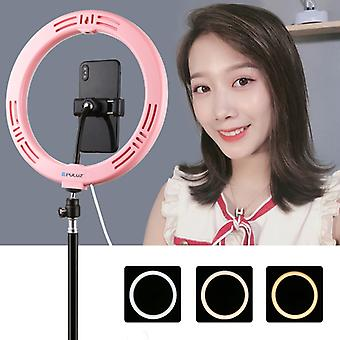 PULUZ 10.2 inch 26cm USB 3 Modes Dimmable Dual Color Temperature LED Curved Diffuse Light Ring Vlogging Selfie Photography Video Lights with Phone Cla