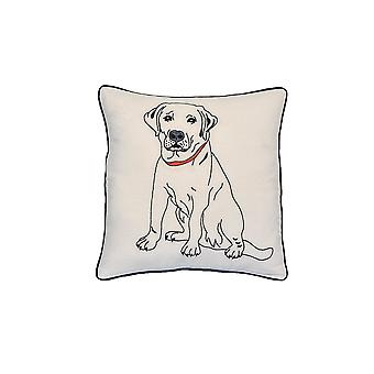 "Labrador Dog Portrait Printed Design Novelty White Cotton Pillow 15""x15"""