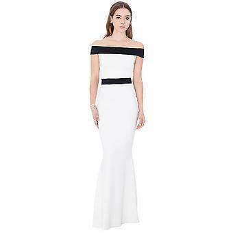 Cream off-shoulder oscar maxi dress