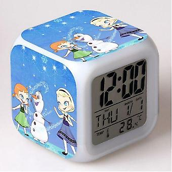 Frozen Elsa Queen, Princess Anna Led Mood Square Rechargeable Clock