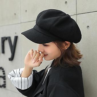 Ősz / téli nyolcszögletű stílusos művész festő Newsboy Caps Fekete Sárga Beret