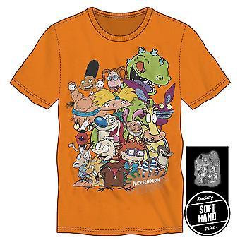 Nickelodeon ren & stimpy rugrats character t-shirt tee shirt for men neon orange