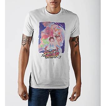 Capcom street fighter personagens vintage branco mão suave impressão t-shirt