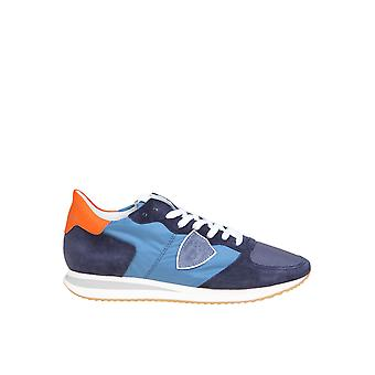 Philippe Model Tzluw055 Men's Blue Leather Sneakers