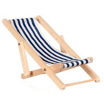 Dolls House Miniatyyri 1:12 Garden Beach huonekalut sininen raita taittuva kansi tuoli