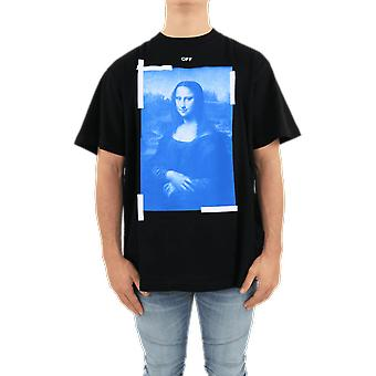 OFF WHITE Blue Monalisa S/S Over Tee Bla Black OMAA038R21JER0011001 Top